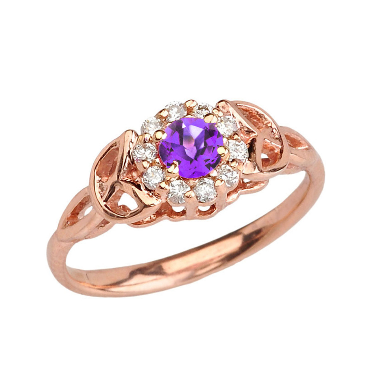 Rose Gold Diamond And Amethyst Engagement Promise Ring