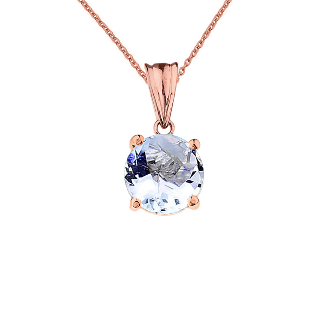 Rose gold march birthstone aquamarine lcaq birthstone pendant 10k rose gold march birthstone aquamarine lcaq pendant necklace aloadofball Choice Image