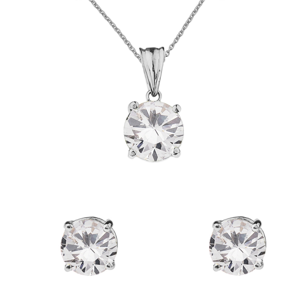 White gold dainty round april birthstone cz pendant necklace set 10k white gold april birthstone cubic zirconia pendant necklace earring set aloadofball Image collections