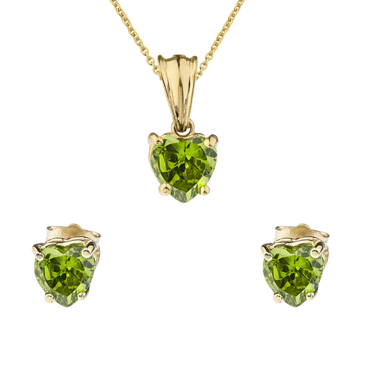heart birthstone gold august yellow set lcp peridot pendant earring necklace