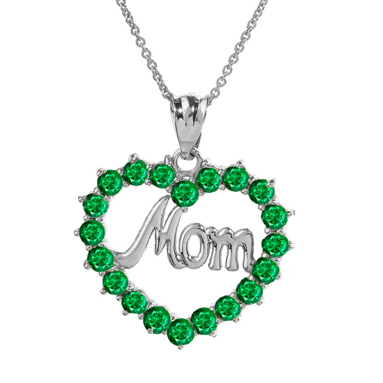 White gold mom emerald lcem in open heart pendant necklace aloadofball