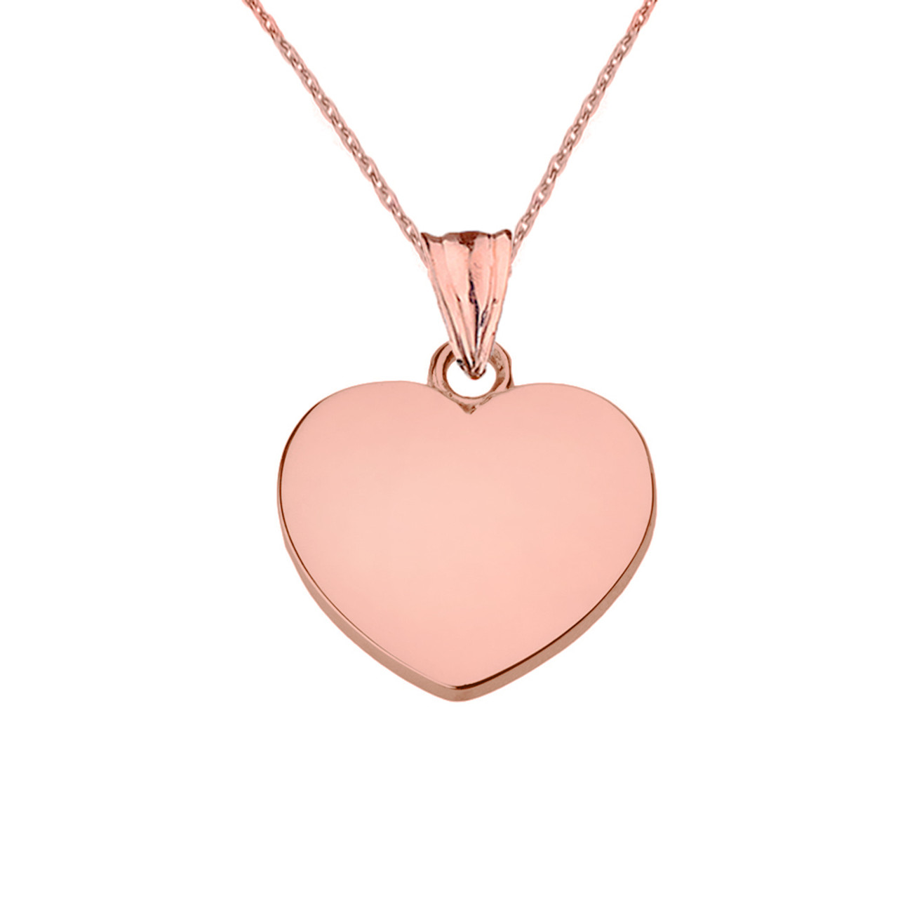 Solid rose gold simple heart pendant necklace aloadofball Images