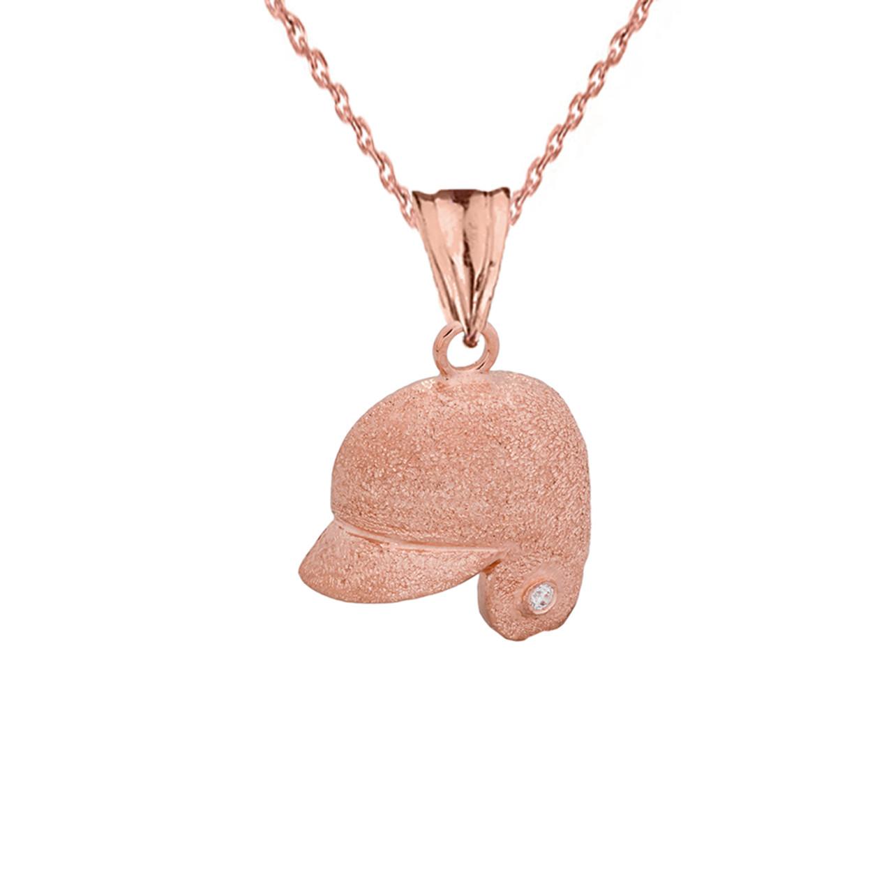 Fine 14k White Gold Baseball Player Sports Pendant Necklace