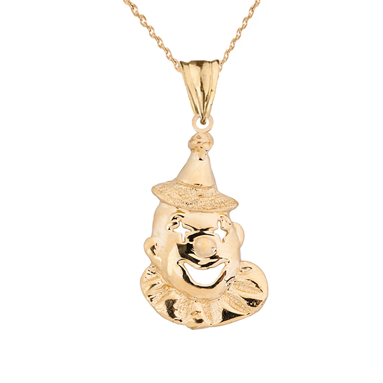 Solid yellow gold clown pendant necklace aloadofball Gallery