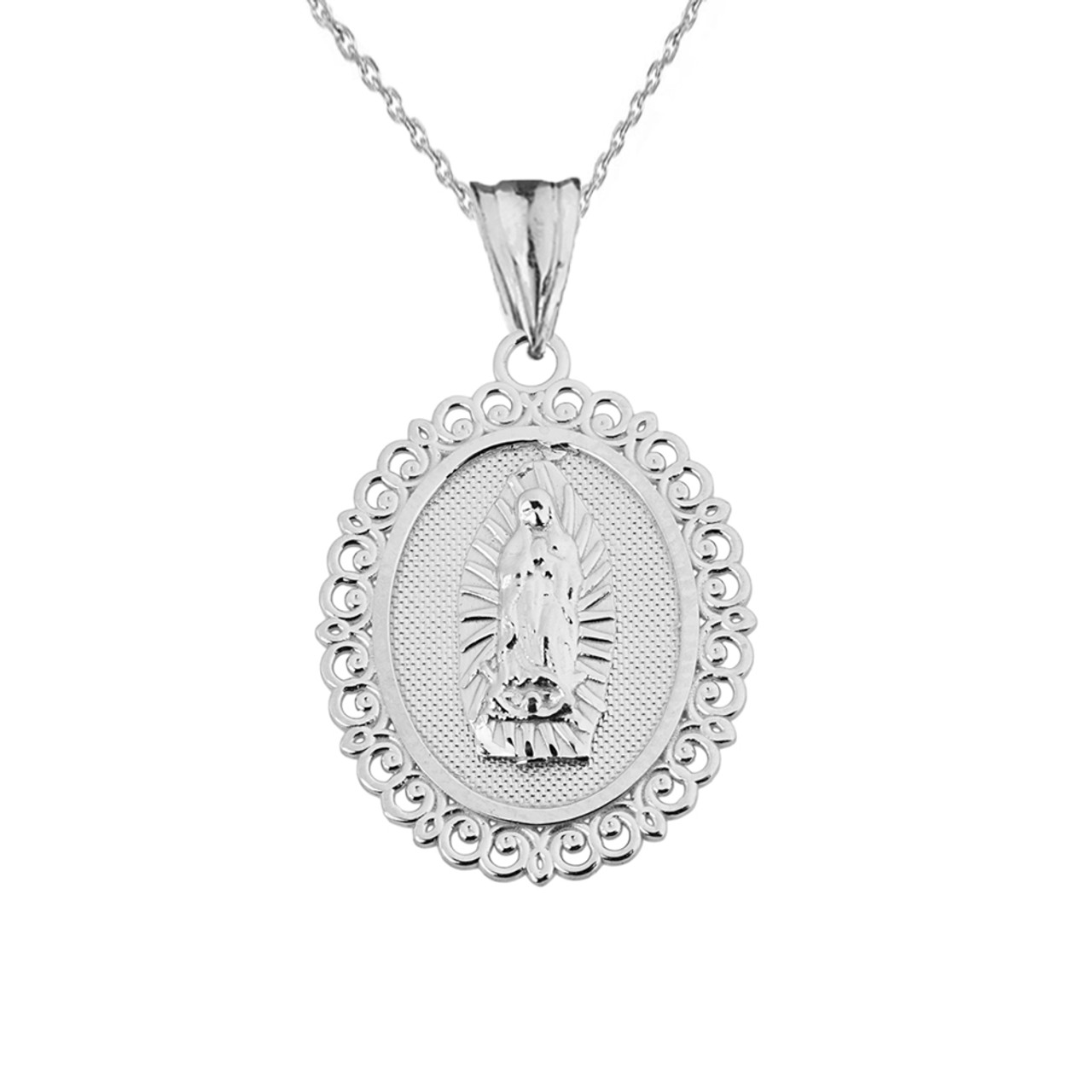 Saint mary pendant necklace in white gold aloadofball Choice Image
