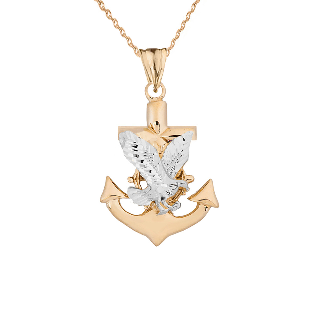 American eagle mariners anchor pendant necklace in two toned yellow gold aloadofball Images