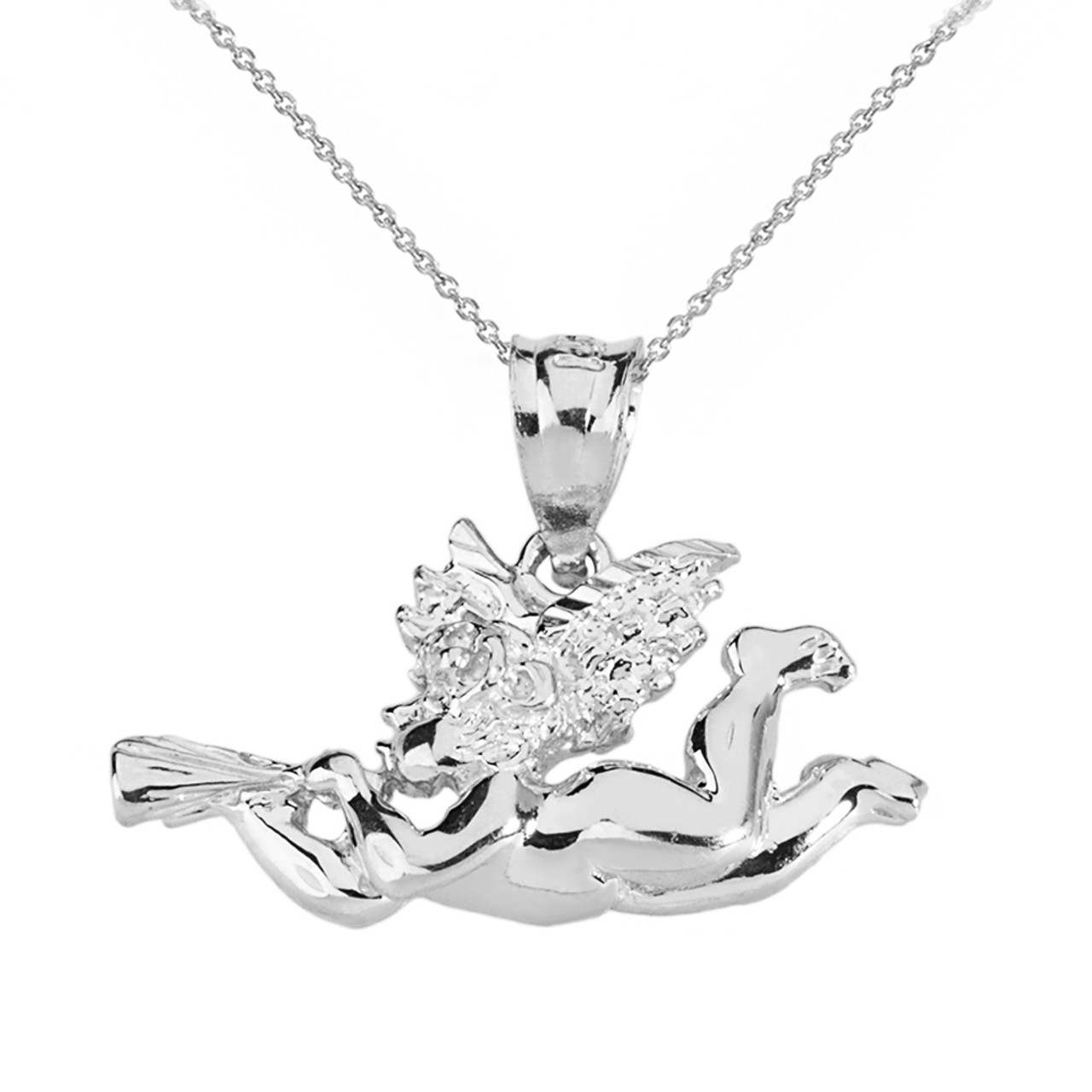 Solid white gold cherub angel pendant necklace aloadofball Image collections