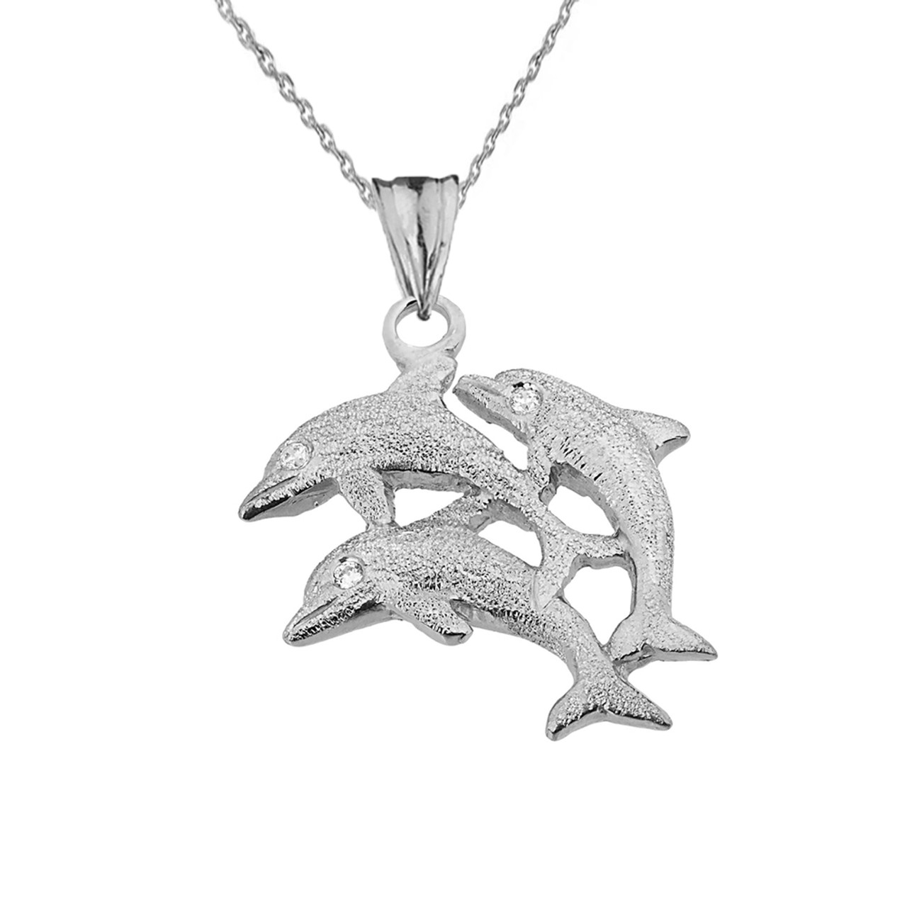 Textured white gold three diamond dolphins pendant necklace aloadofball Image collections