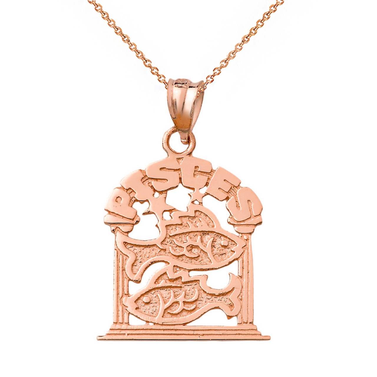 Solid rose gold zodiac pisces pendant necklace mozeypictures Choice Image