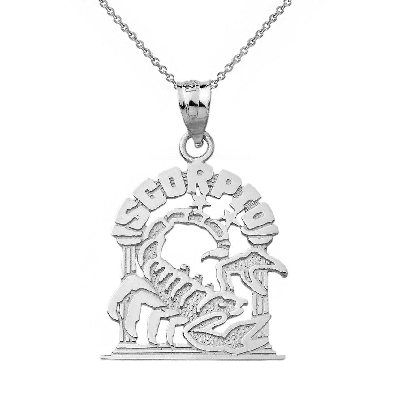 White gold zodiac scorpio pendant necklace solid white gold zodiac scorpio pendant necklace mozeypictures Image collections