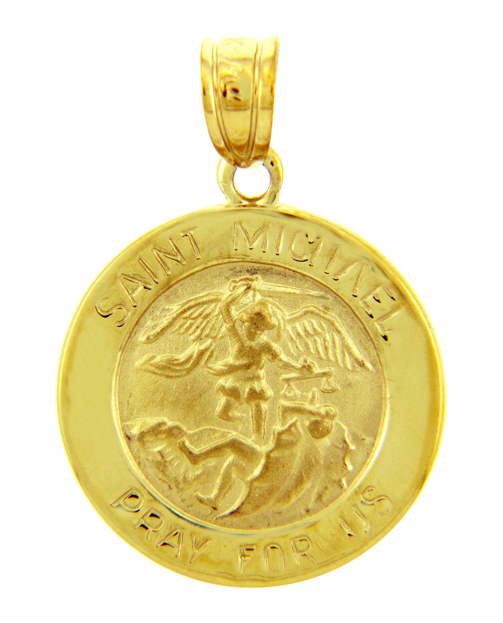 Gold religious pendants the saint michael pray for us yellow gold gold religious pendants the saint michael pray for us yellow gold pendant aloadofball Image collections