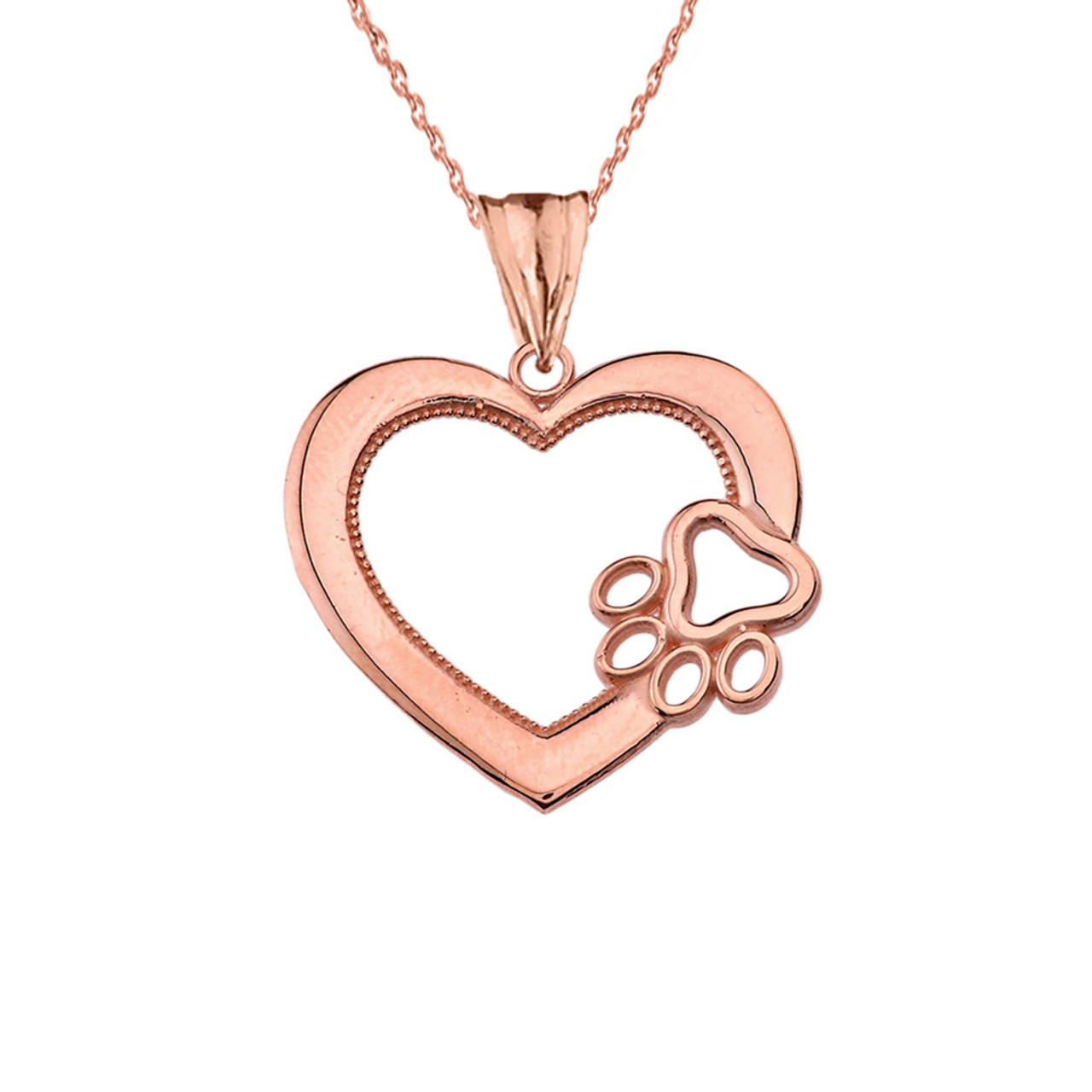 Heart paw print pendant necklace in rose gold aloadofball Images