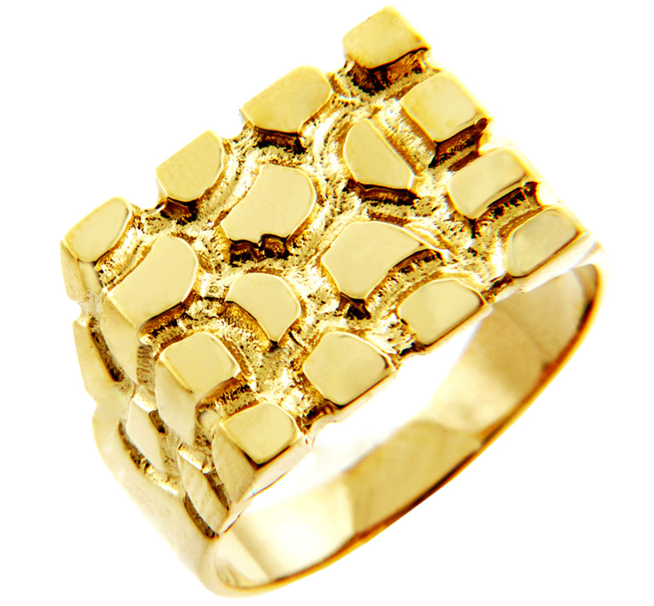 Mens Gold Nugget Rings The Armour Solid Gold Nugget Ring