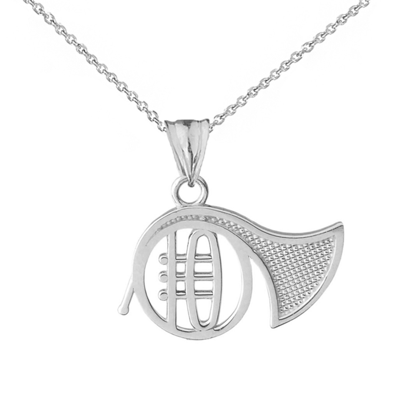 Game control pendant necklace in white gold french horn pendant necklace in white gold mozeypictures Image collections