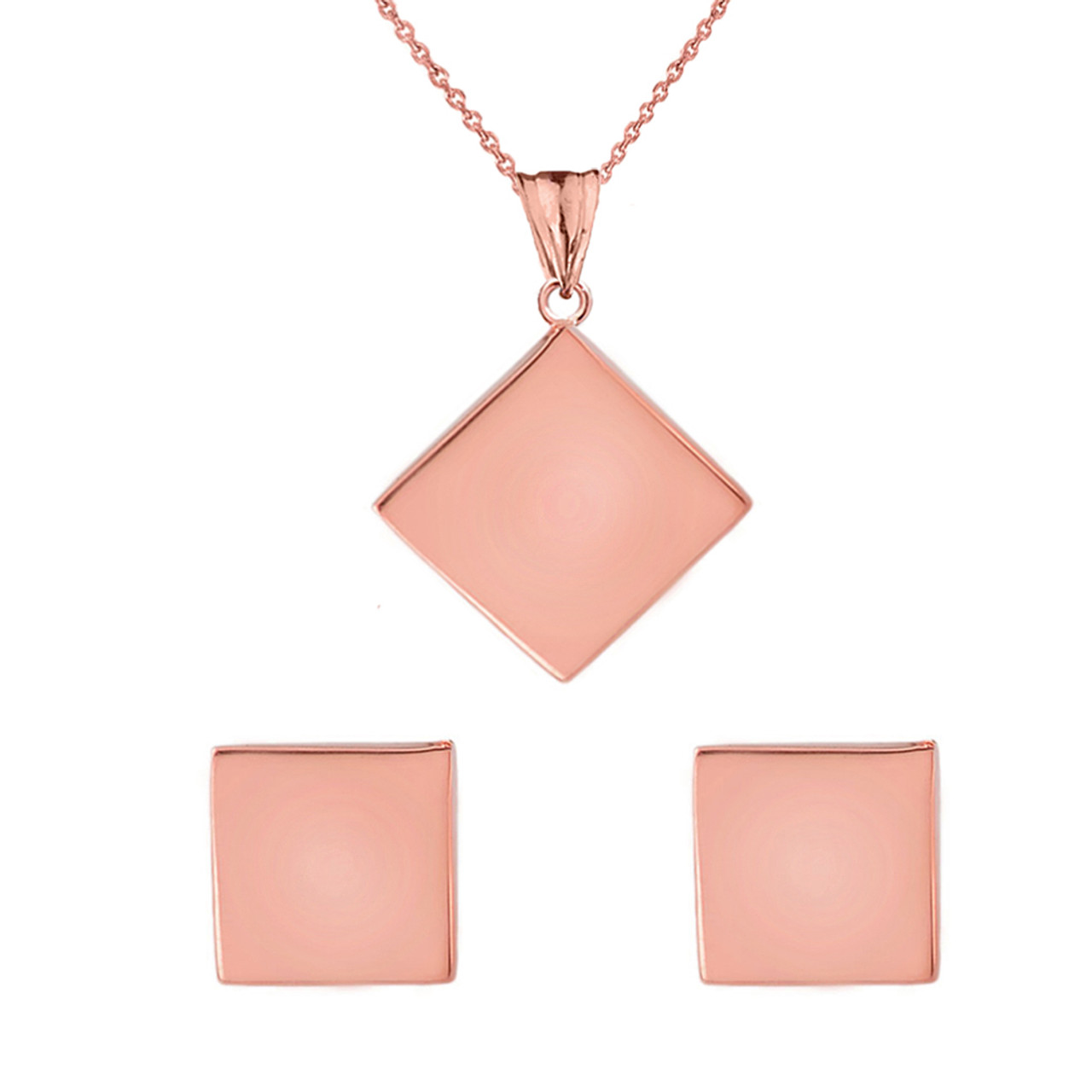 Solid rose gold simple diamond shaped pendant necklace and earring set aloadofball Images