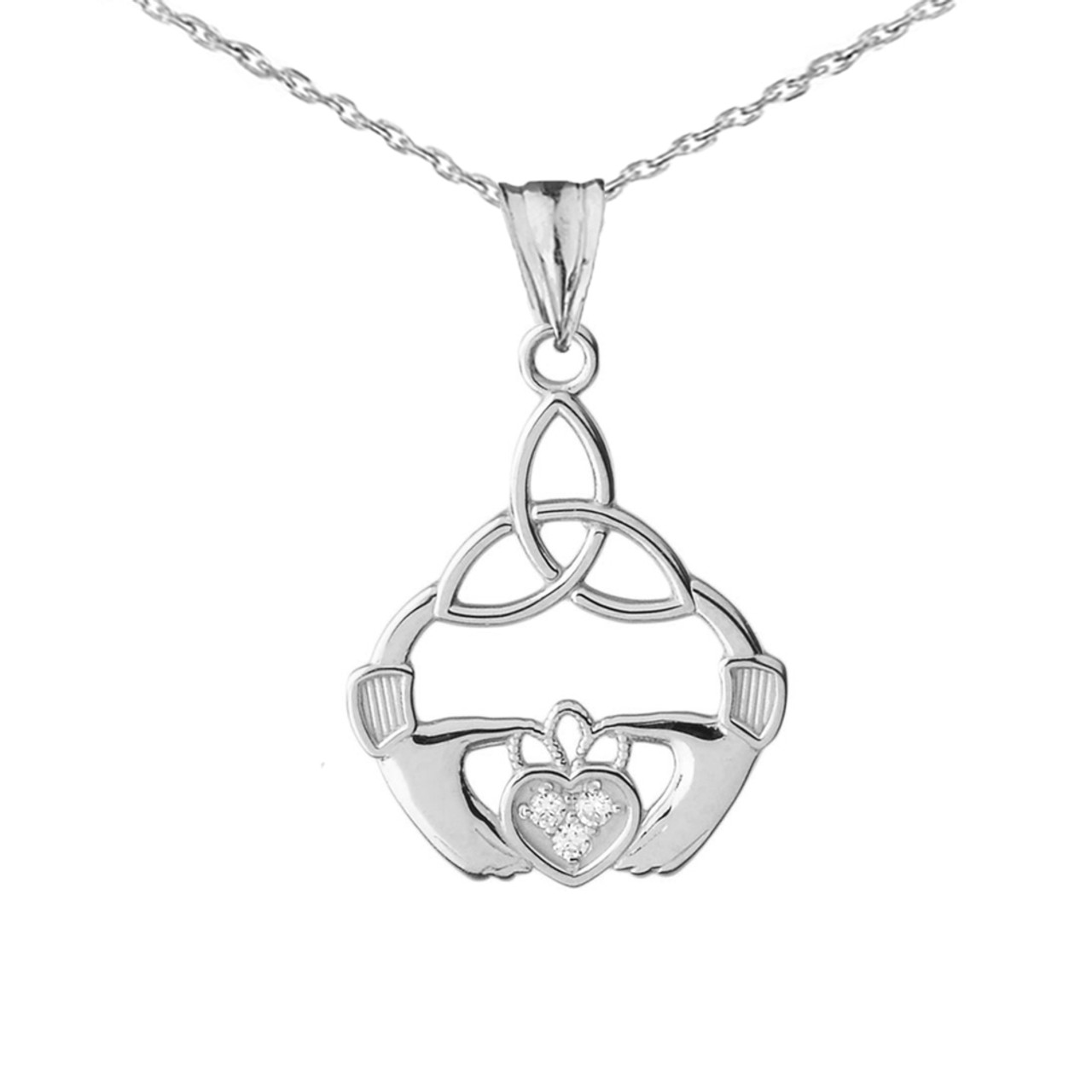 Diamond trinity knot pendant necklace in white gold aloadofball Gallery