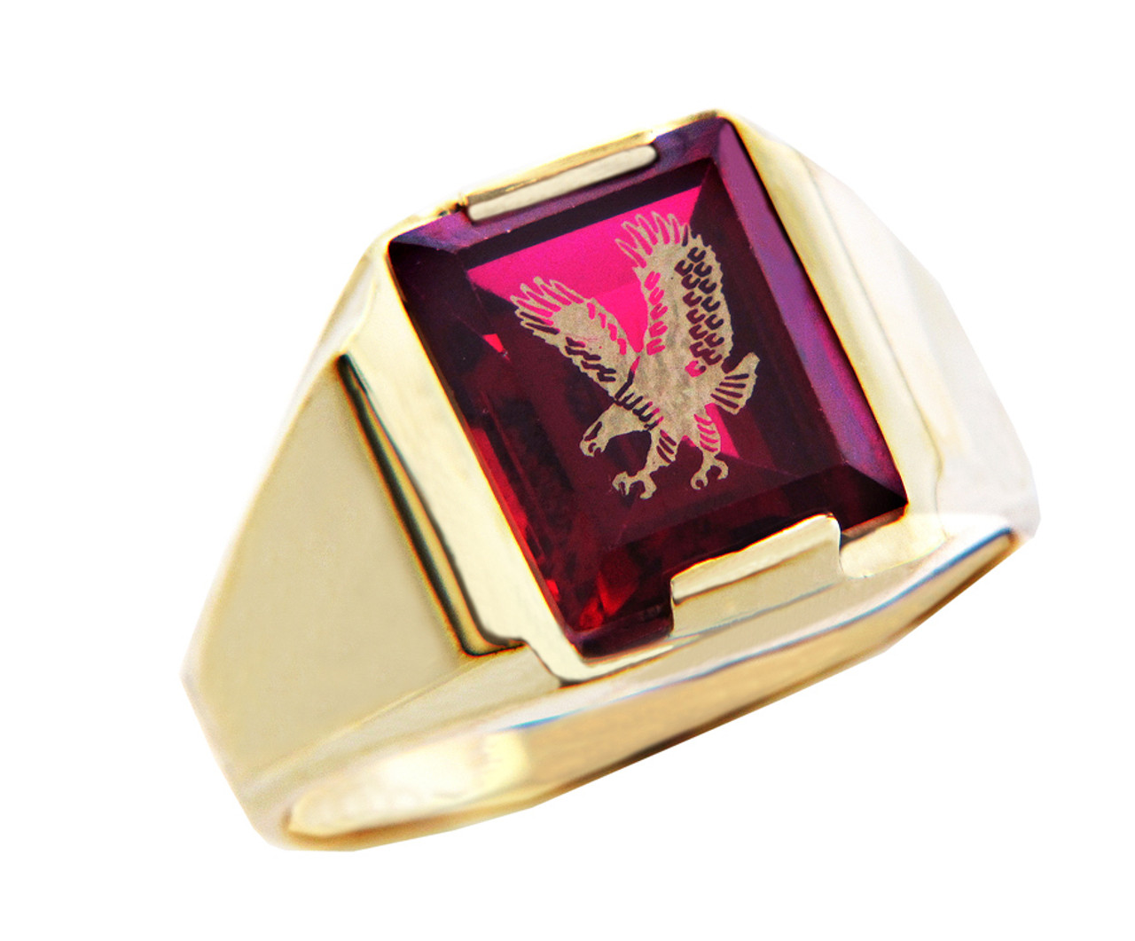 Gold Rings The Garnet Red Stone and Gold Eagle Ring