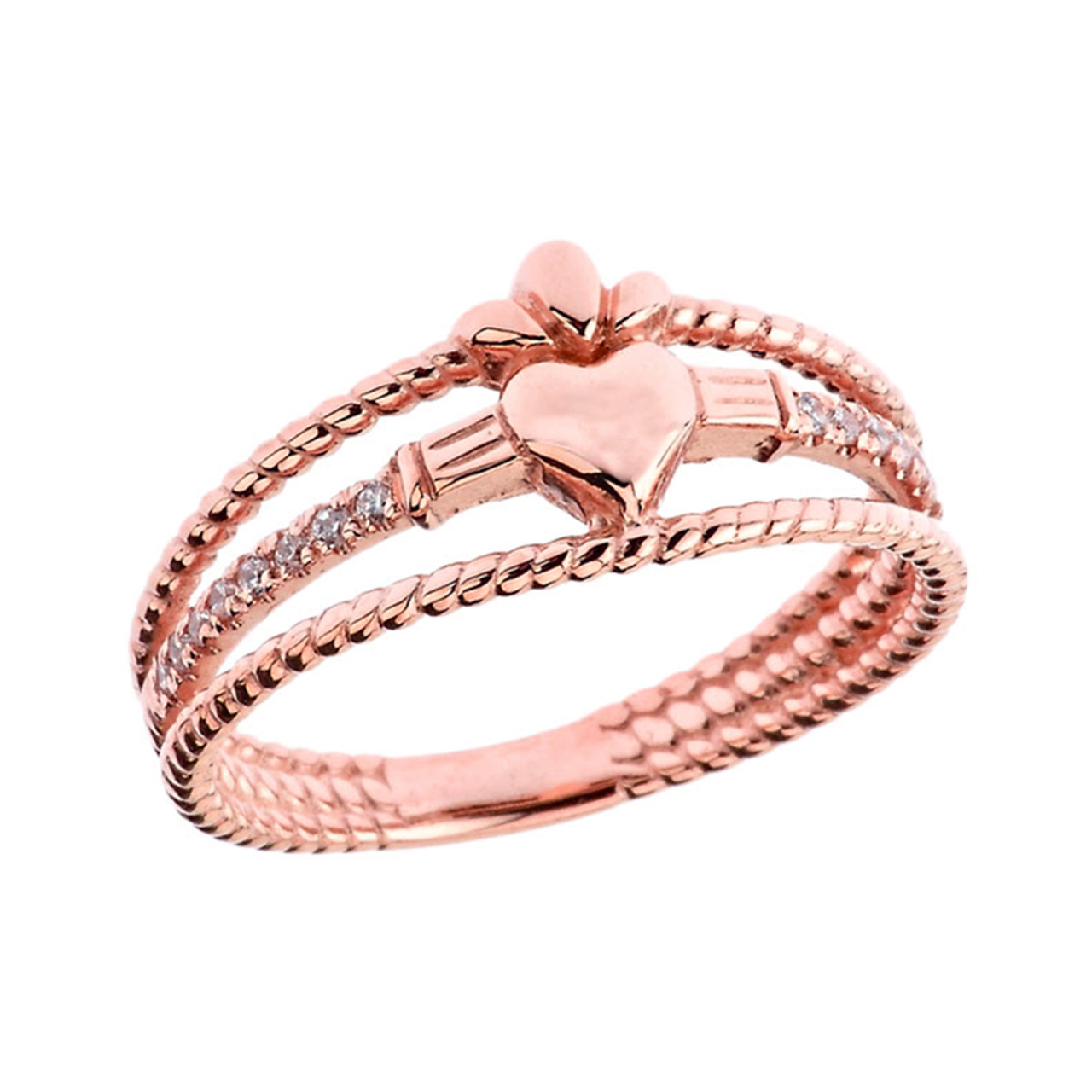 Modern Claddagh Diamond Rope Engagement/Proposal Ring in Rose Gold