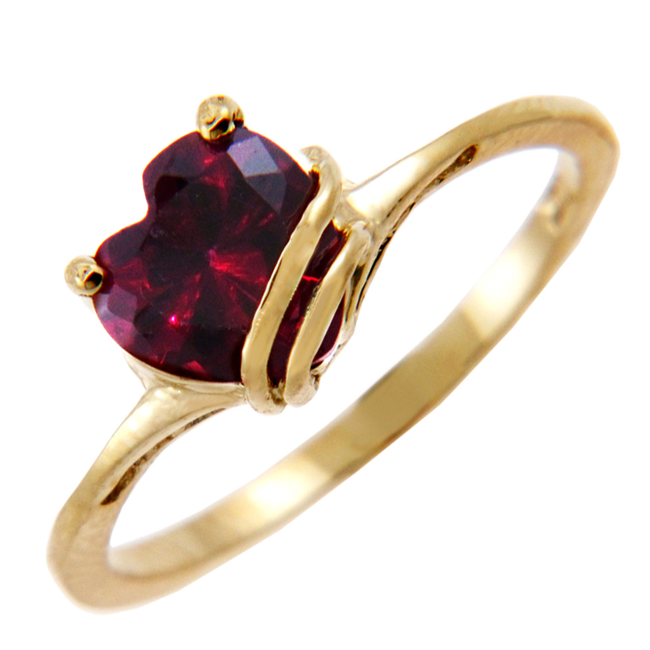 Ladies Gold CZ Rings - Gold Fancy Ring with Dark Red Cubic ...