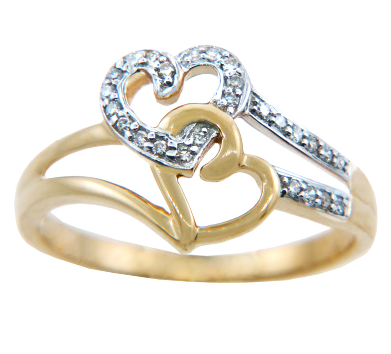Rings - Two Tone Gold Joined Hearts with Diamonds Ring