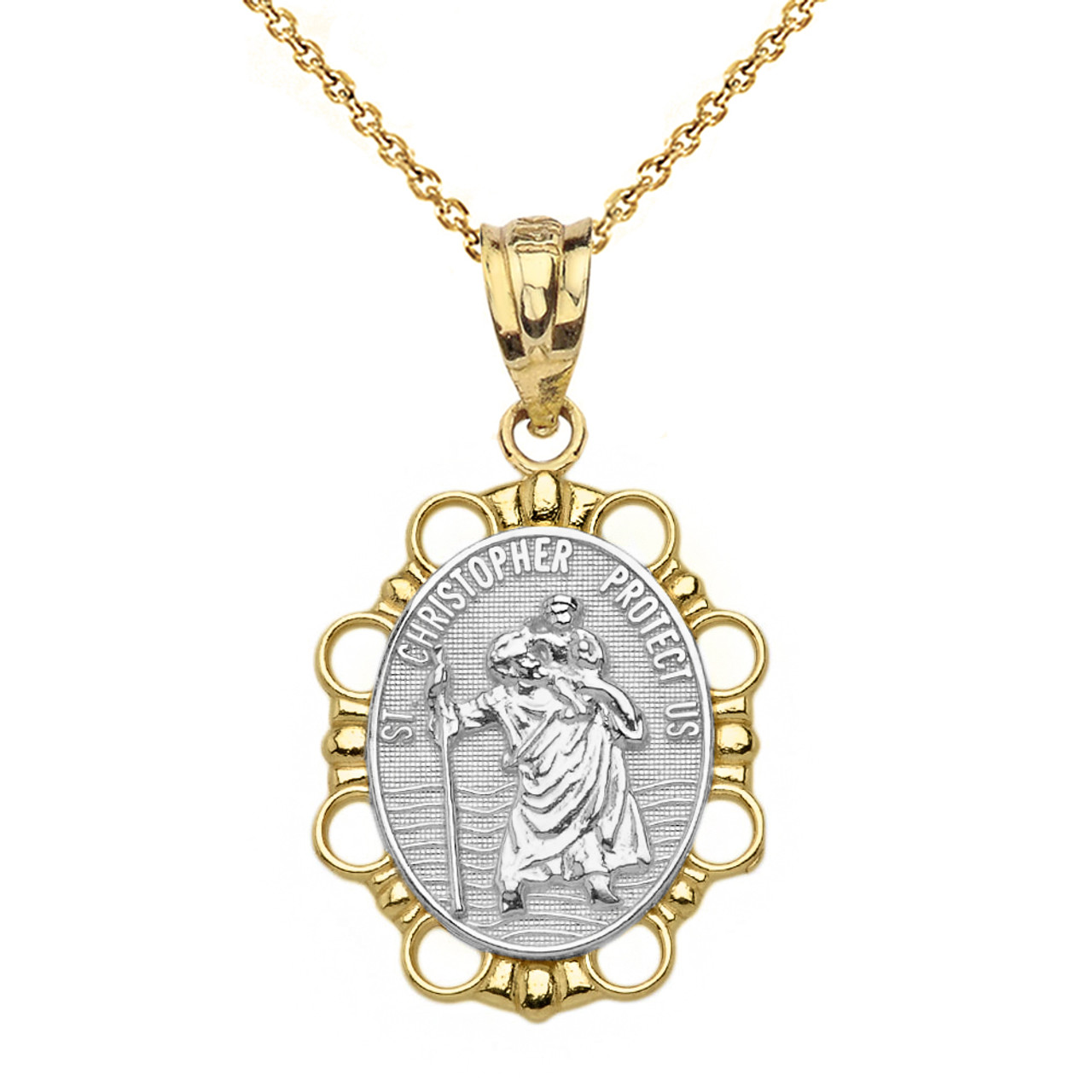 Solid two tone yellow gold saint christopher pendant necklace aloadofball Gallery