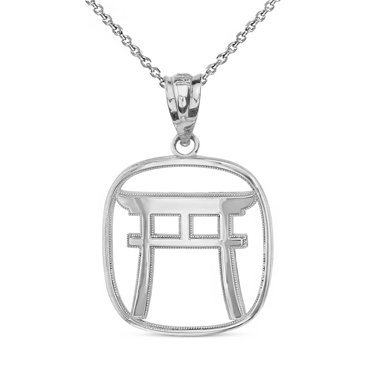 Sterling Silver Torii Gate Japanese Symbol Shinto Shrine Pendant