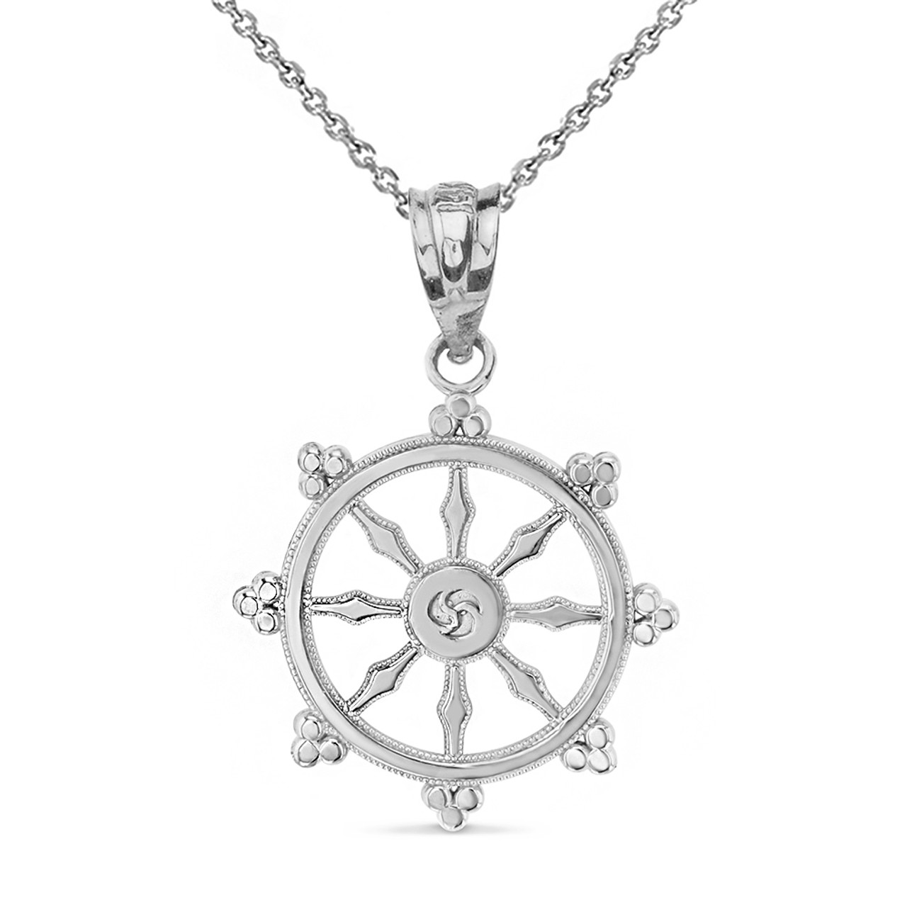 Solid white gold buddhism dharmachakra dharma wheel pendant necklace aloadofball Gallery