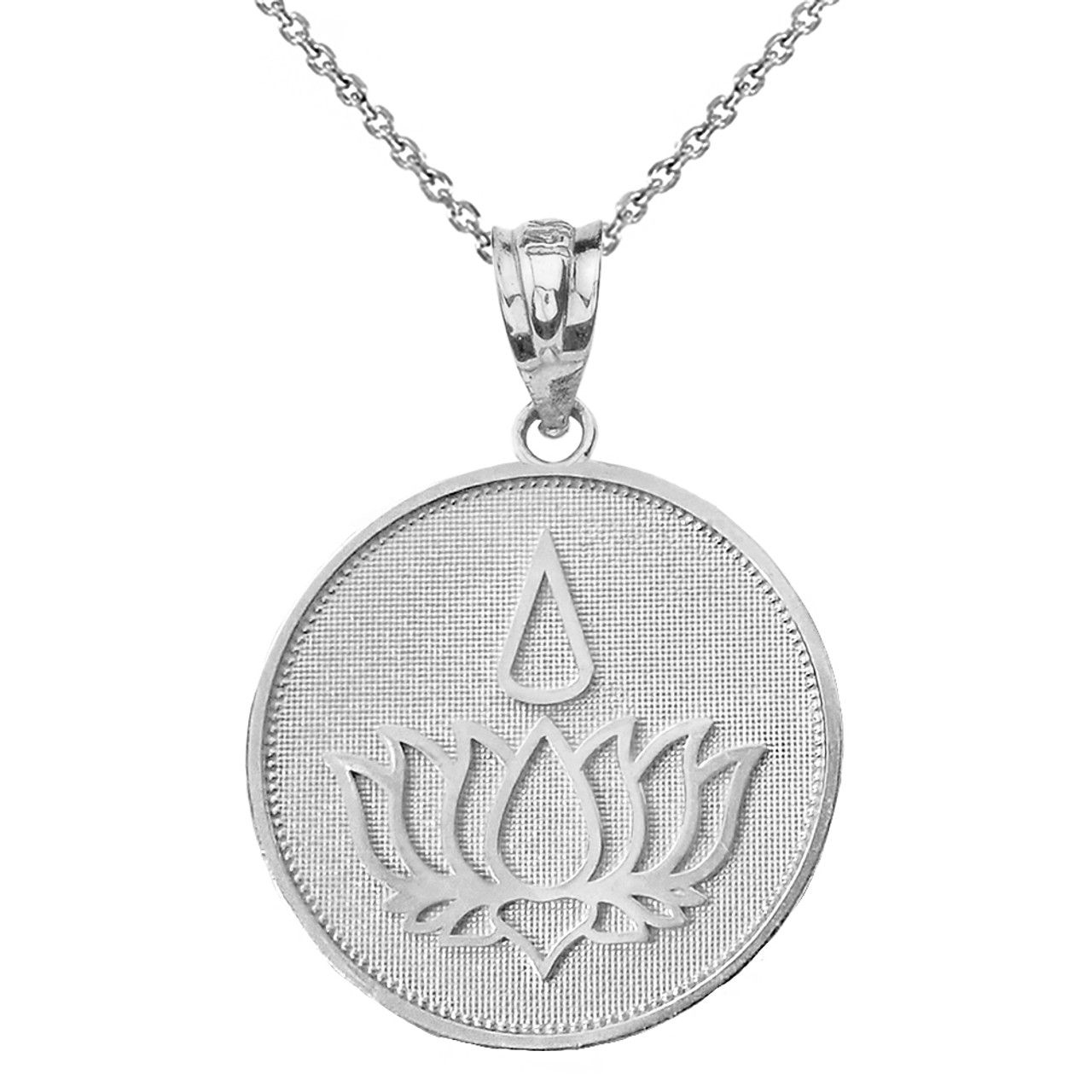 Sterling Silver Lotus Flower Blossom With Teardrop Disc Pendant Necklace