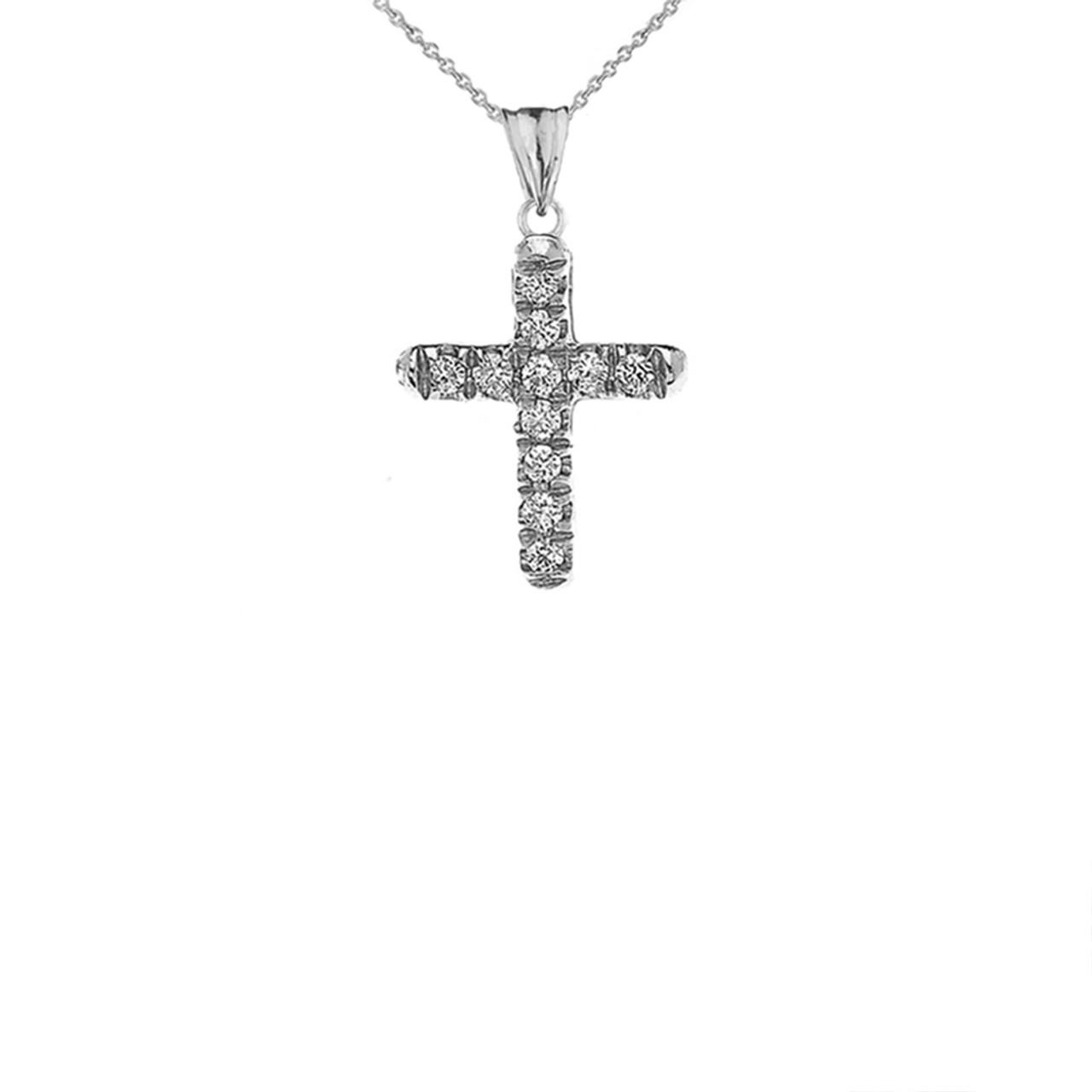 17be72ad5 Details about 14k White Gold Mini Elegant Diamond Cross Pendant Necklace