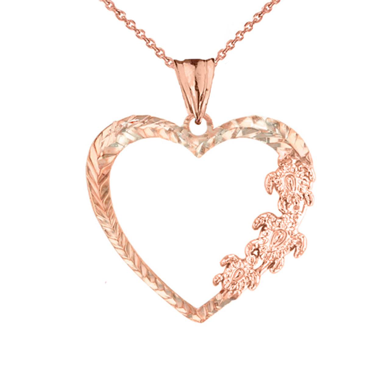 Solid Rose Gold 10K Simple Heart Pendant Necklace