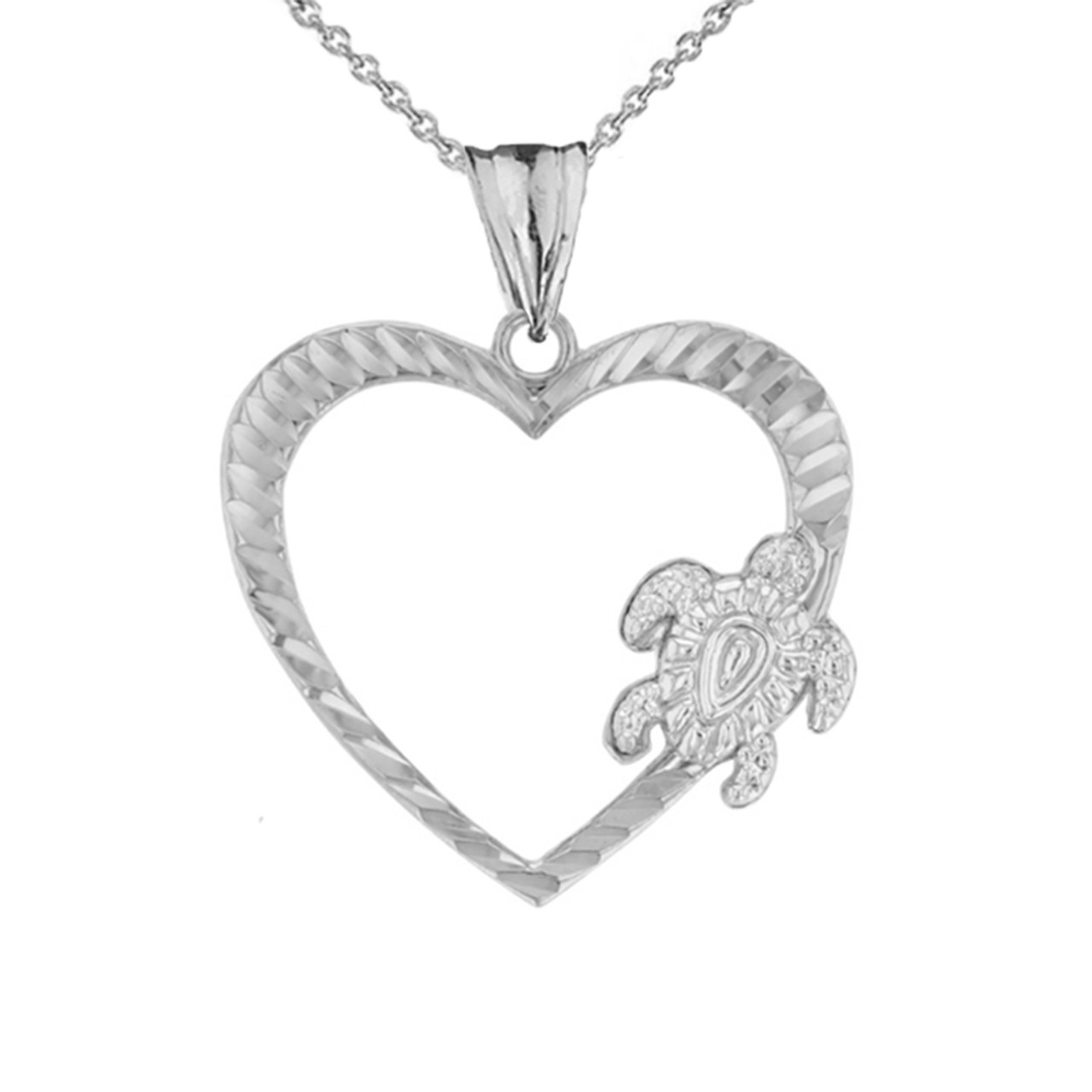 Honu Hawaiian Turtle Heart Pendant Necklace In Sterling Silver