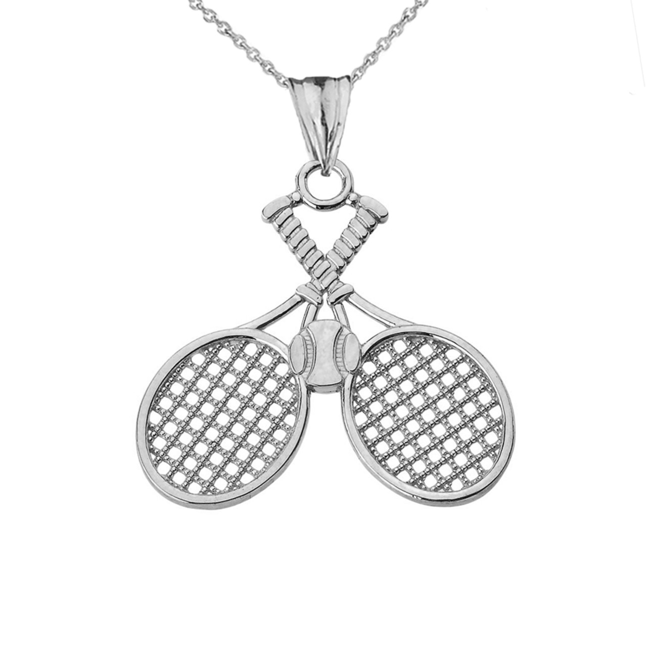 Detailed tennis rackets pendant necklace in white gold aloadofball Choice Image