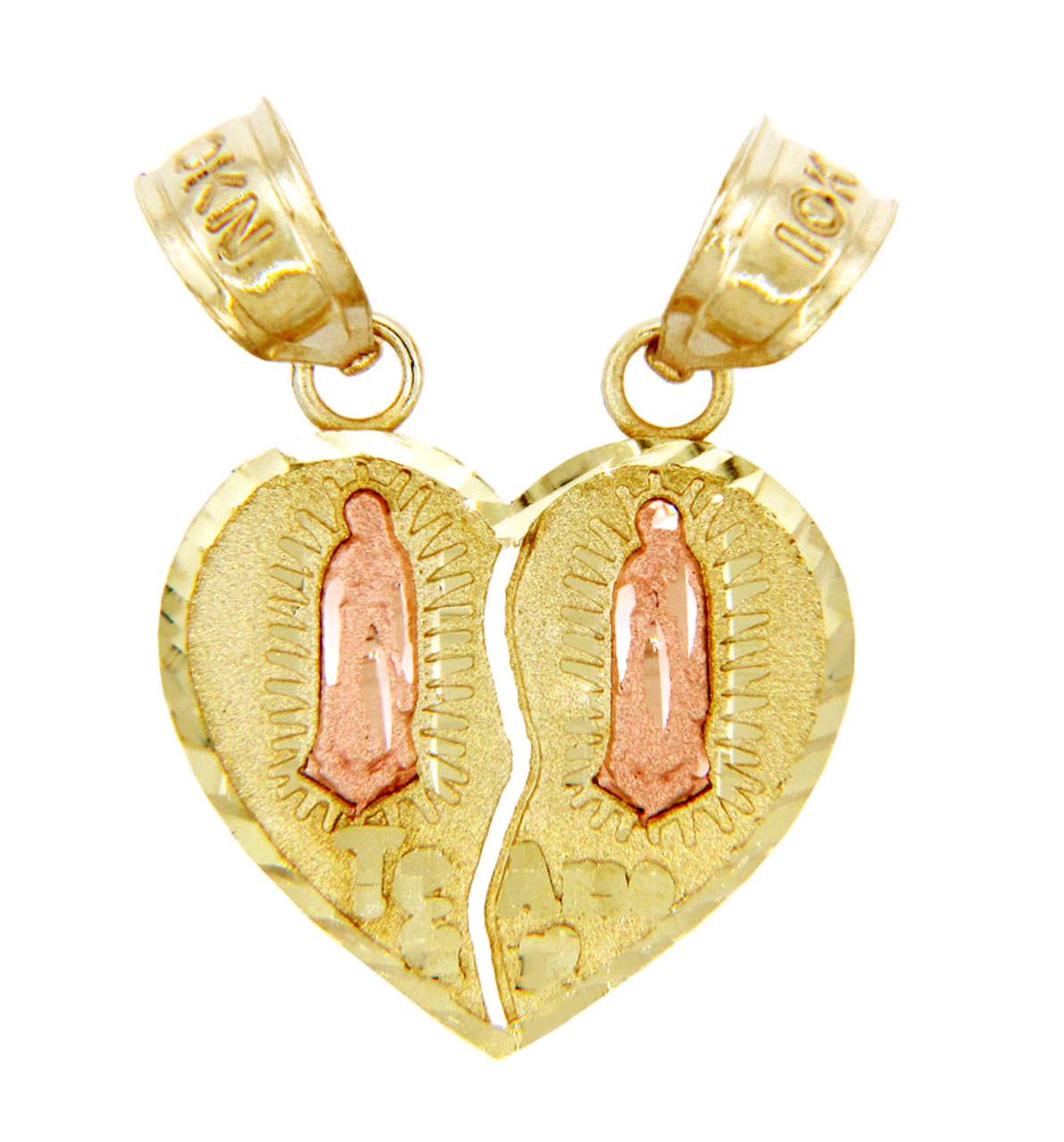 Gold pendants two tone guadalupe te amo breakable gold heart gold pendants two tone guadalupe te amo breakable gold heart pendant ii aloadofball Image collections