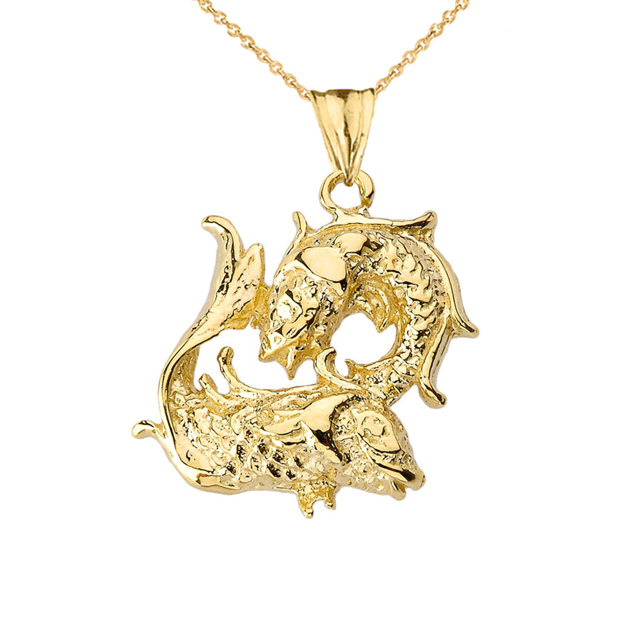 Pisces pendant necklace in yellow gold mozeypictures Choice Image