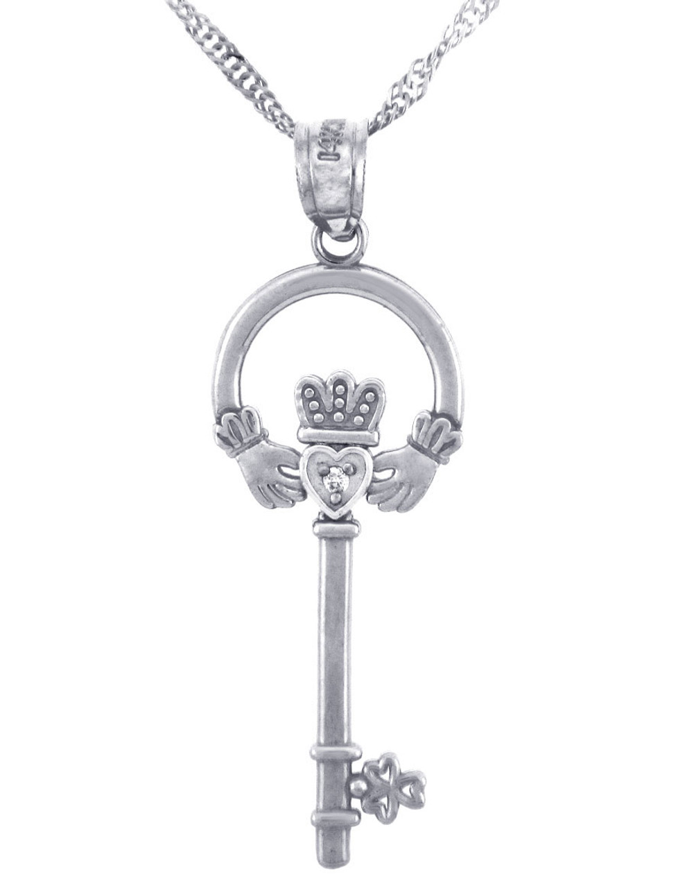 White gold claddagh key pendant with diamond w chain aloadofball