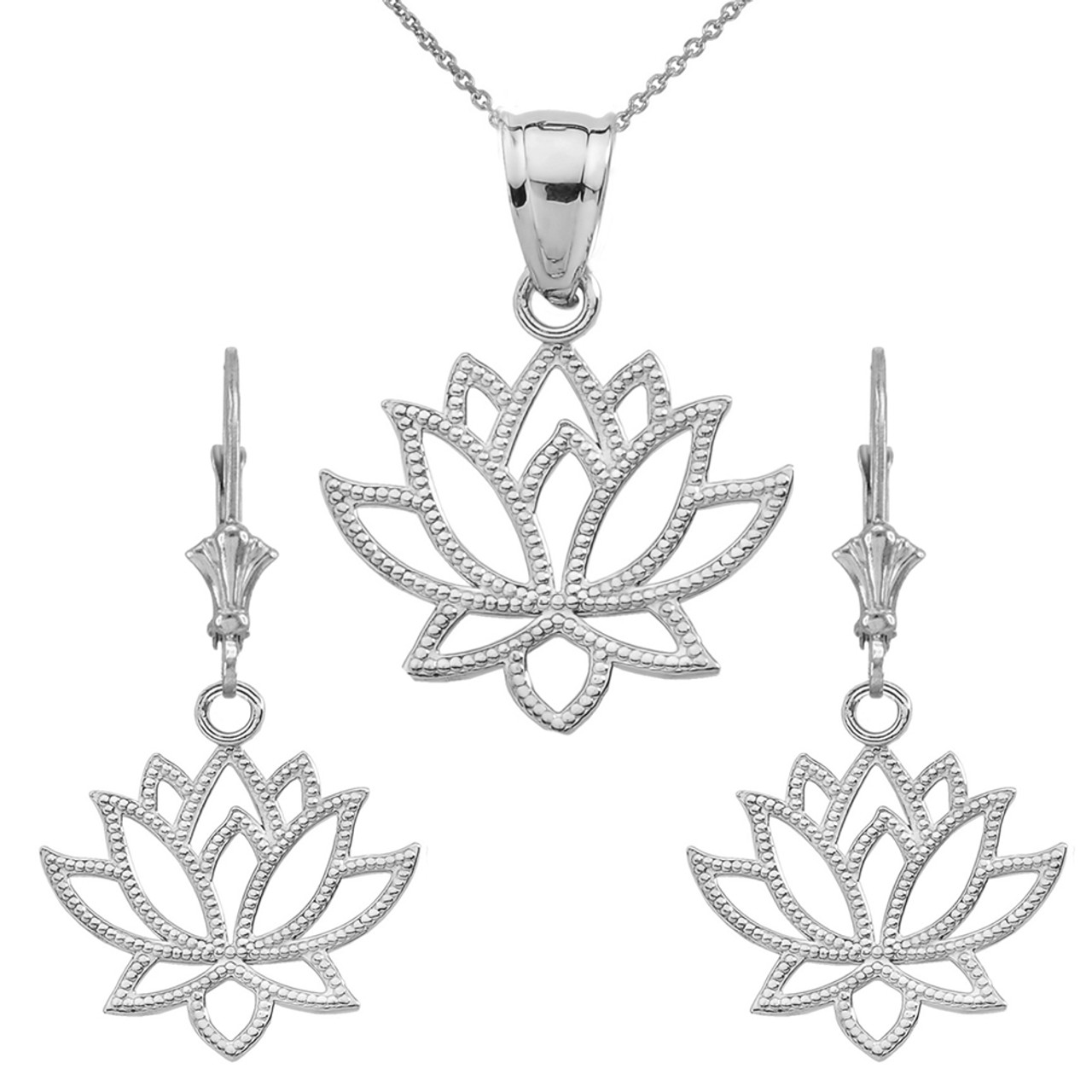 Lotus Flower Pendant Necklace Set In Sterling Silver