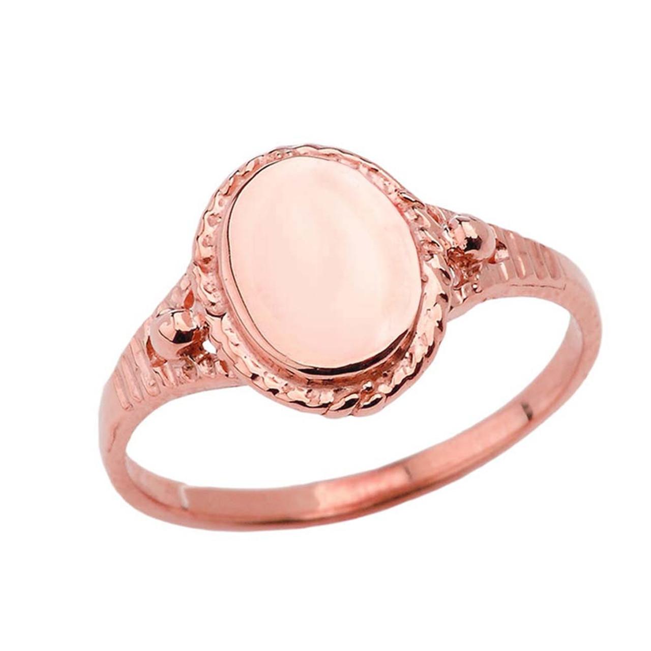 Milgrain Engravable Oval Signet Ring in Rose Gold