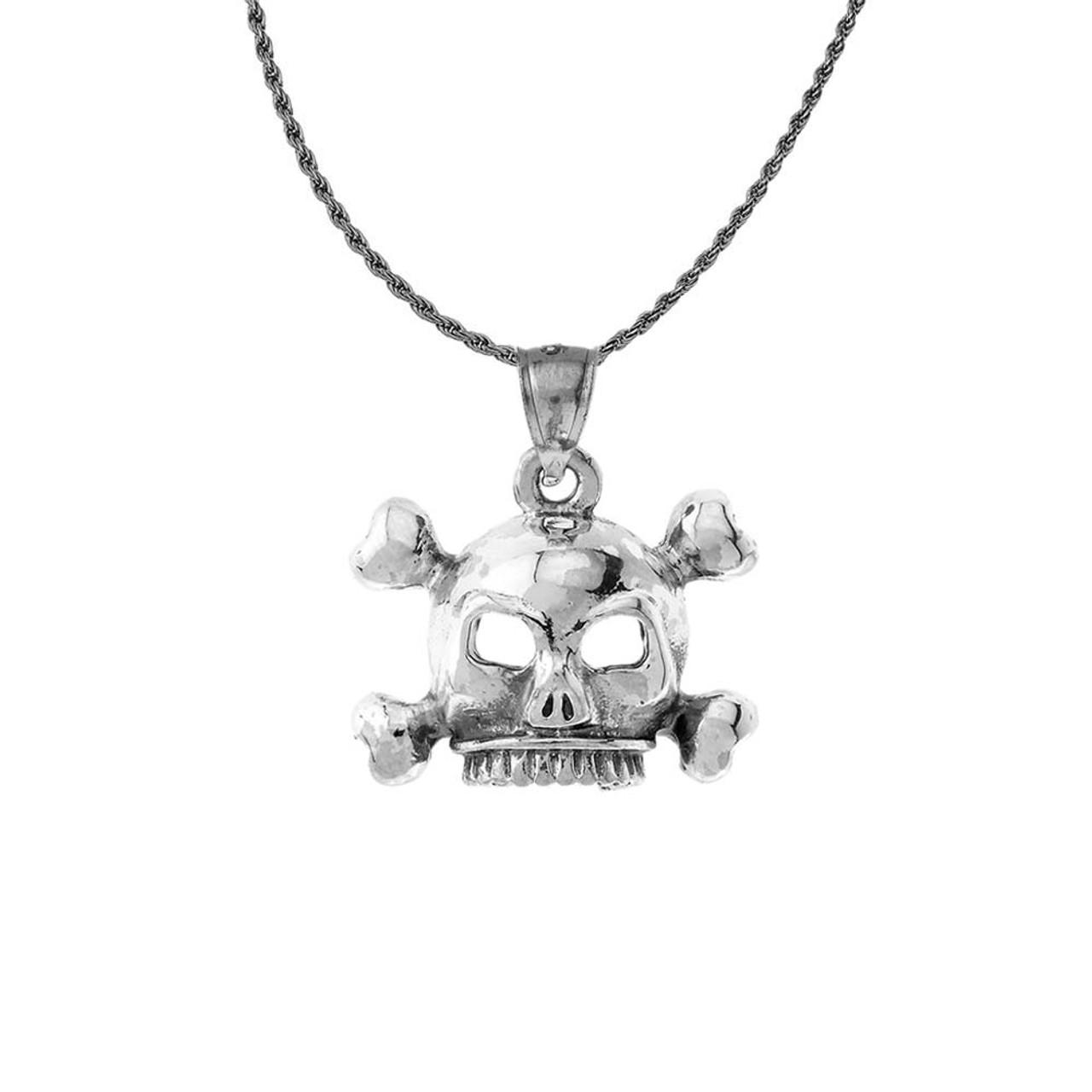 vintage style skull bones pendant necklace in sterling silver