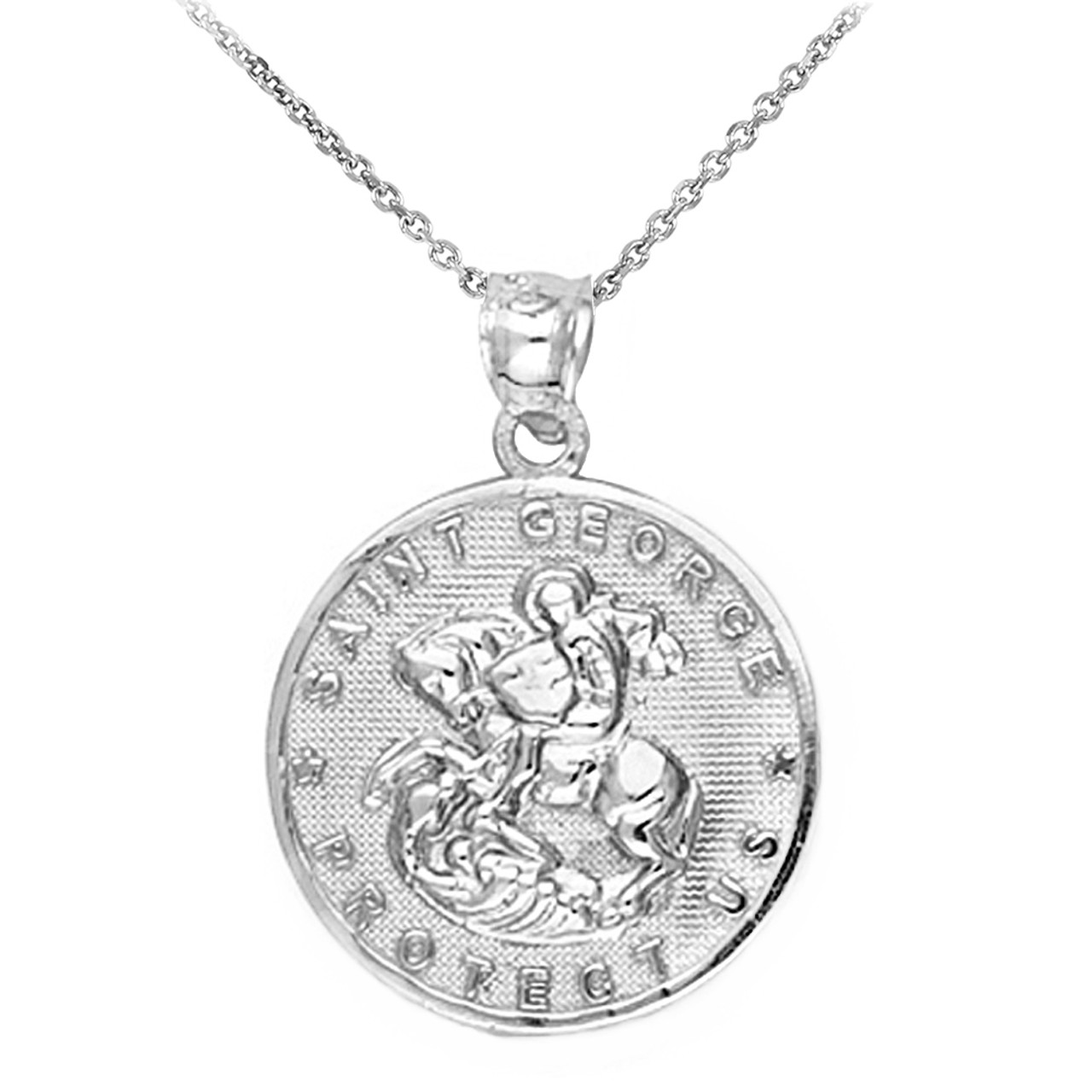 double sided the sterling st george pendant silver dragon dbl saint necklace