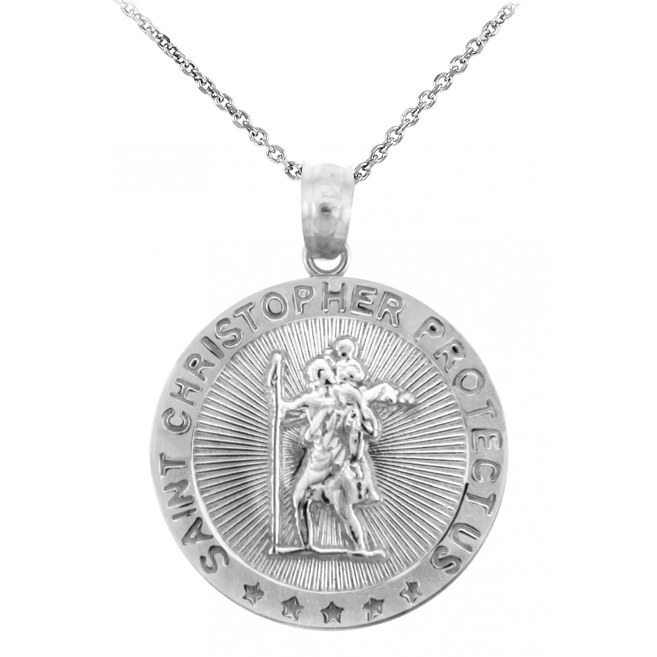 Religious pendants the saint christopher protect us round 925 st christopher sterling silver coin pendant necklace aloadofball Choice Image