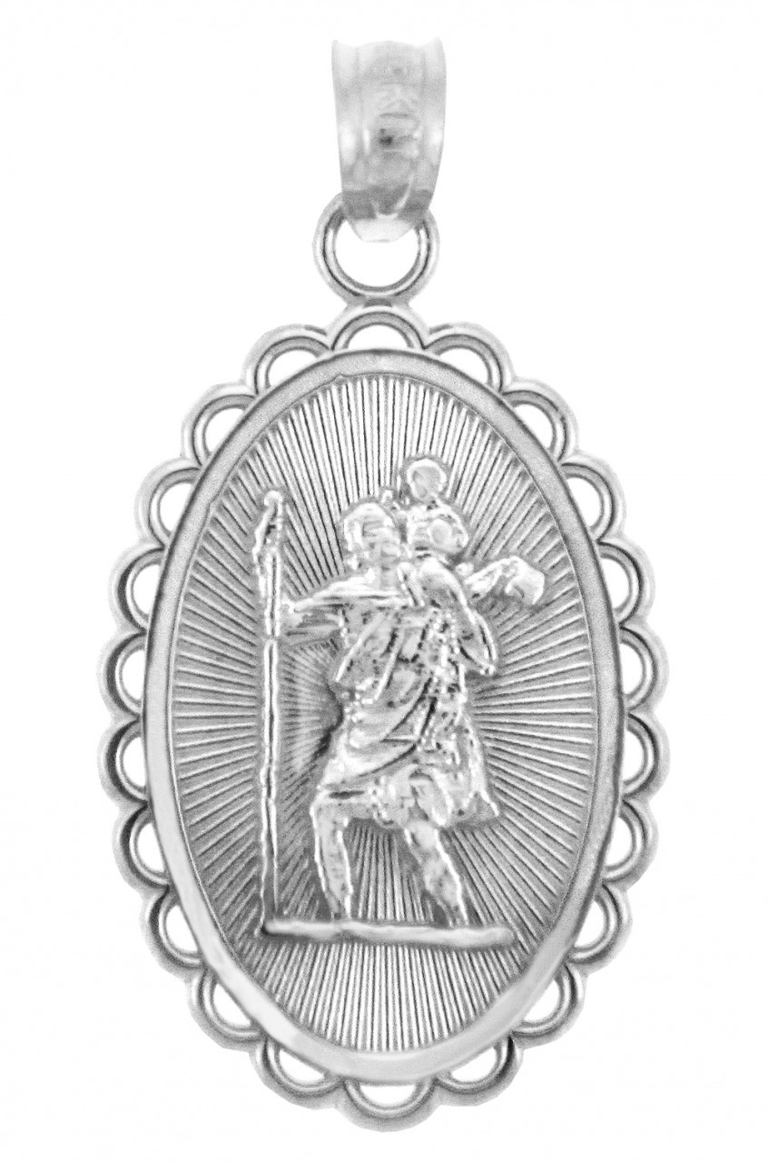 medallion sterling medal silver weight p length saint christopher grams width