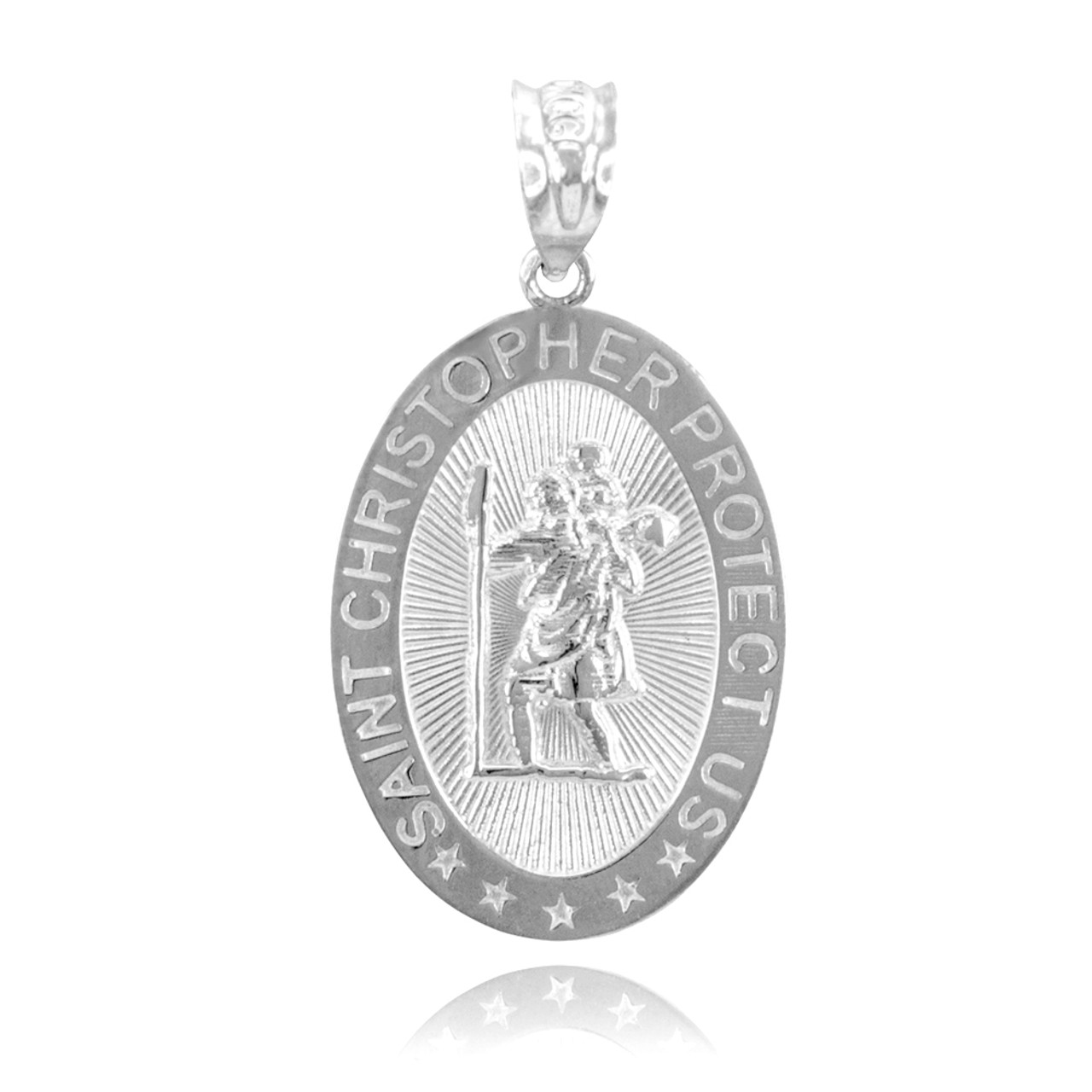 Religious charms the saint christopher protect us charm white gold white gold st christopher charm pendant aloadofball Choice Image