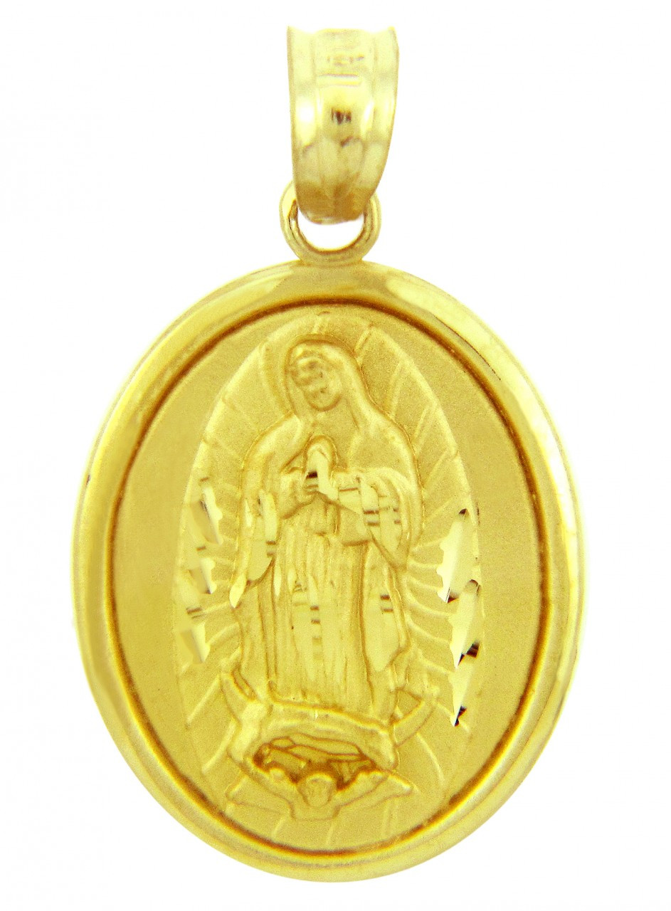 Religious charms the blessed virgin mary yellow gold pendant aloadofball Choice Image