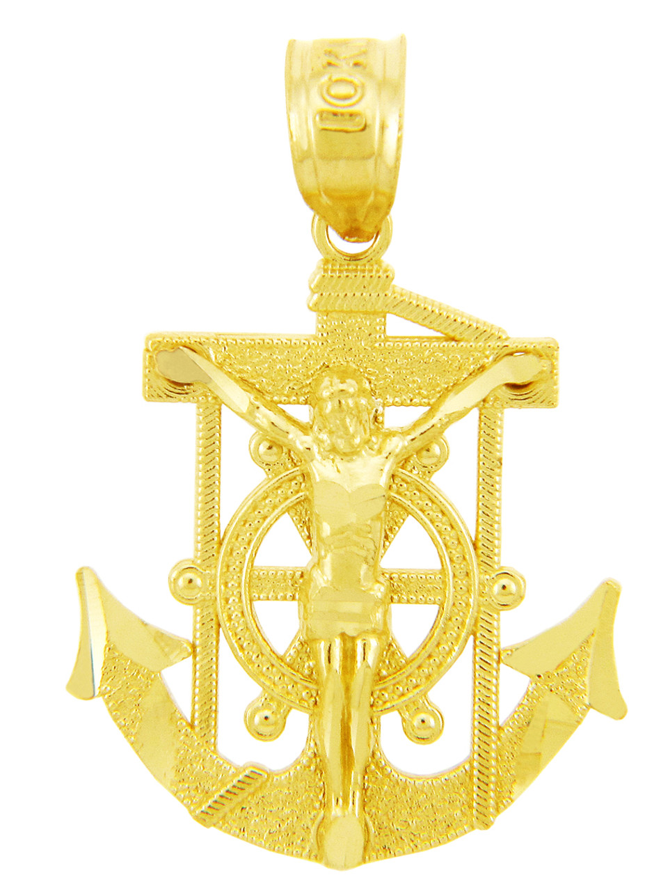 Religious charms the anchored mariners cross gold pendant aloadofball Image collections