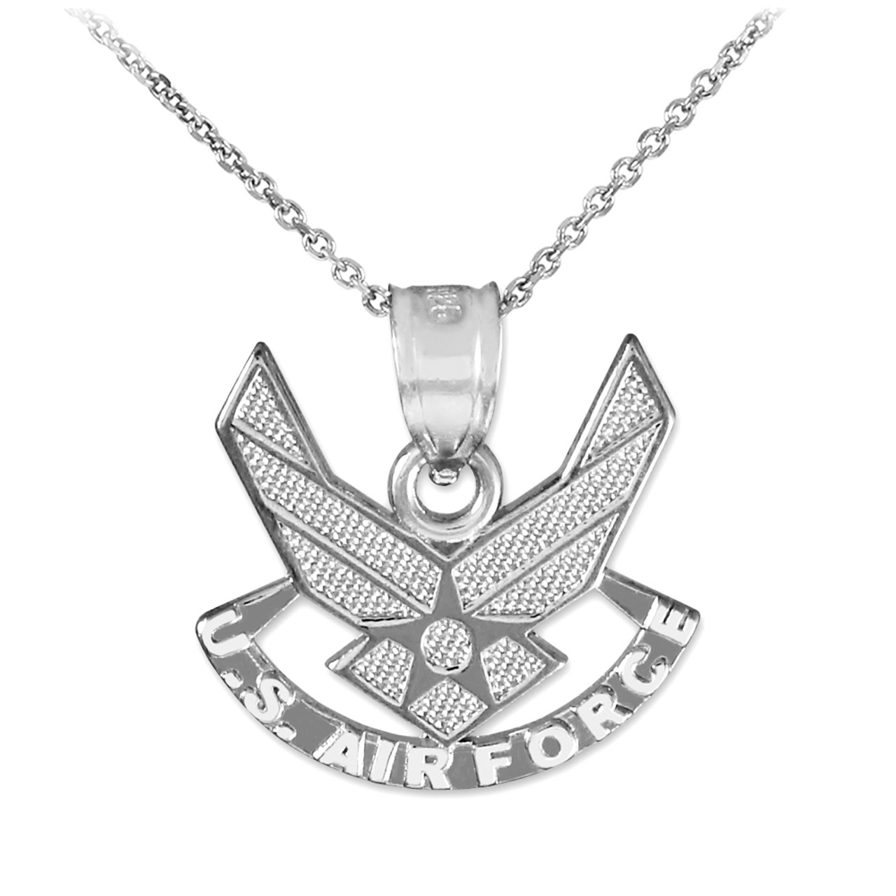 White gold us air force wings pendant white gold us air force wings pendant necklace aloadofball Choice Image