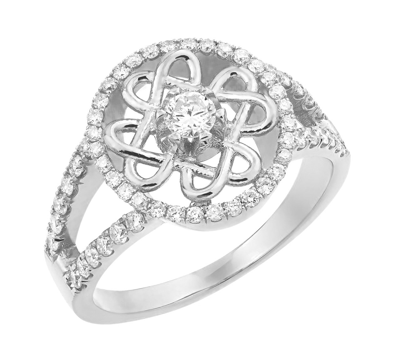 White Gold Diamond Celtic Knot Engagement Ring