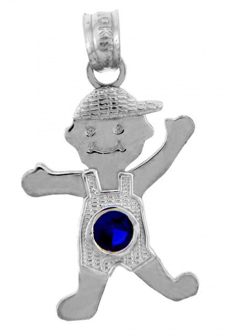 White gold baby charms and pendants boy birthstone charm with cz white gold baby charms and pendants boy birthstone charm with cz sapphire blue stone aloadofball Choice Image