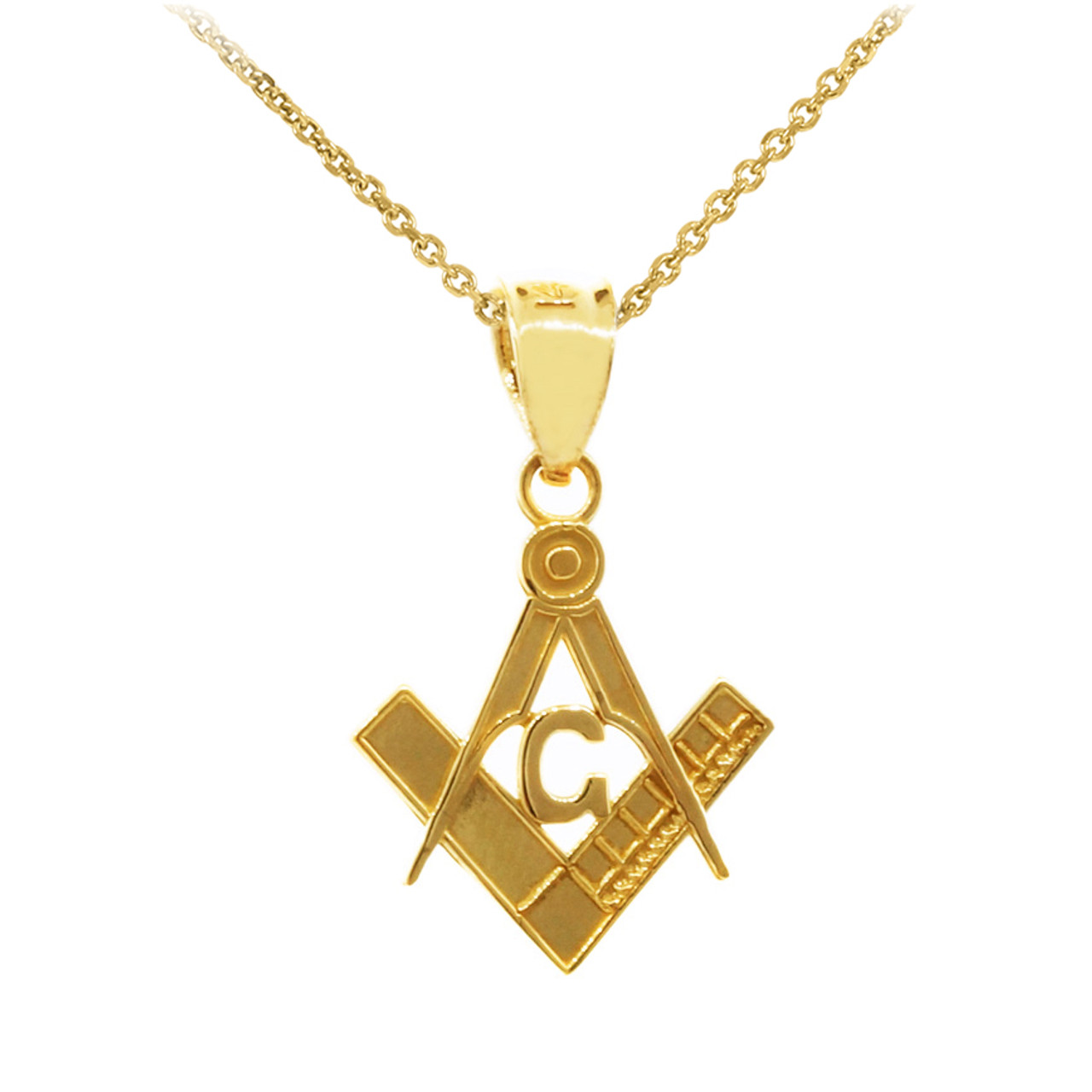 Yellow gold freemason masonic bail pendant yellow gold freemason small masonic pendant 085 aloadofball Image collections