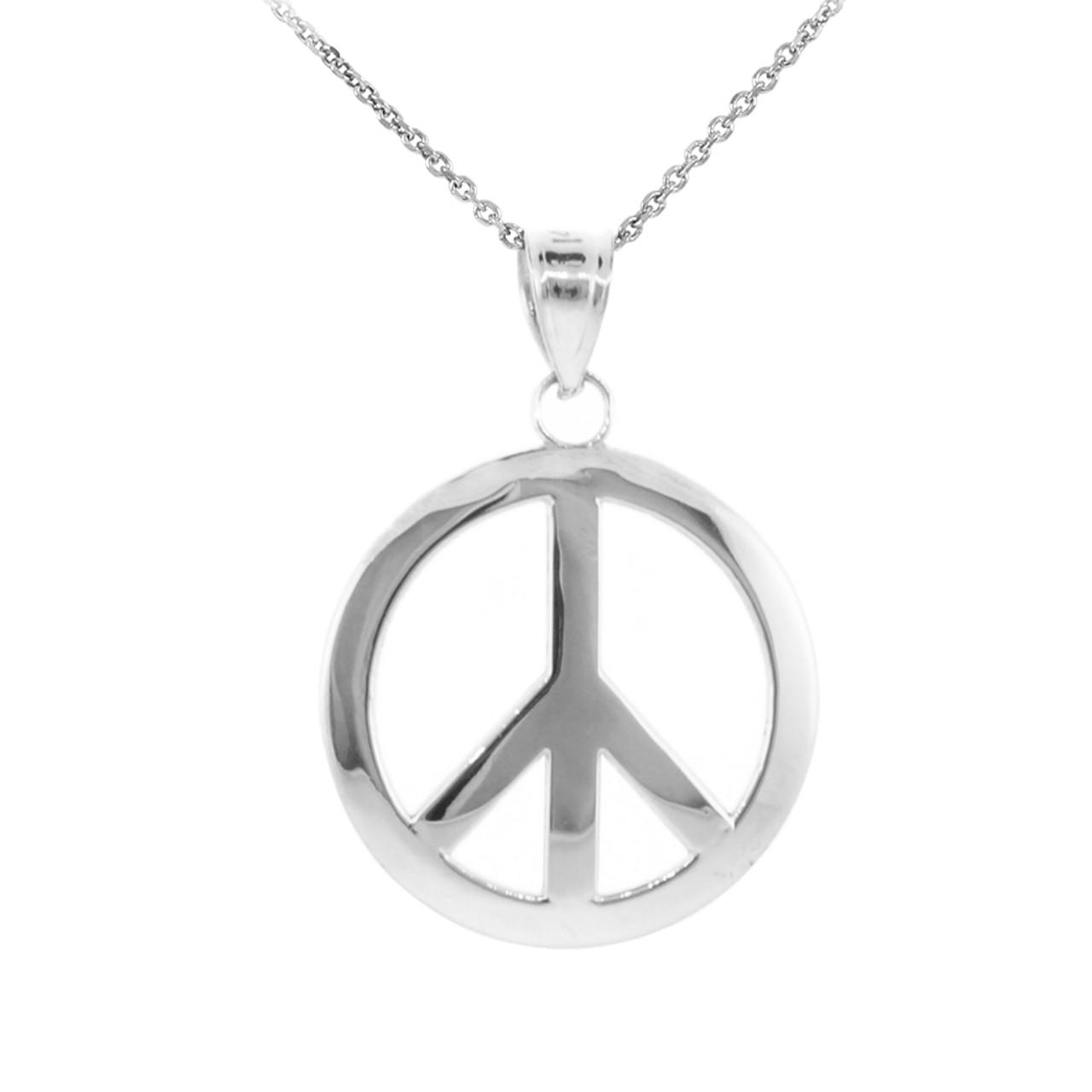 925 sterling silver peace symbol pendant necklace l factory 925 sterling silver peace symbol pendant necklace l aloadofball Images