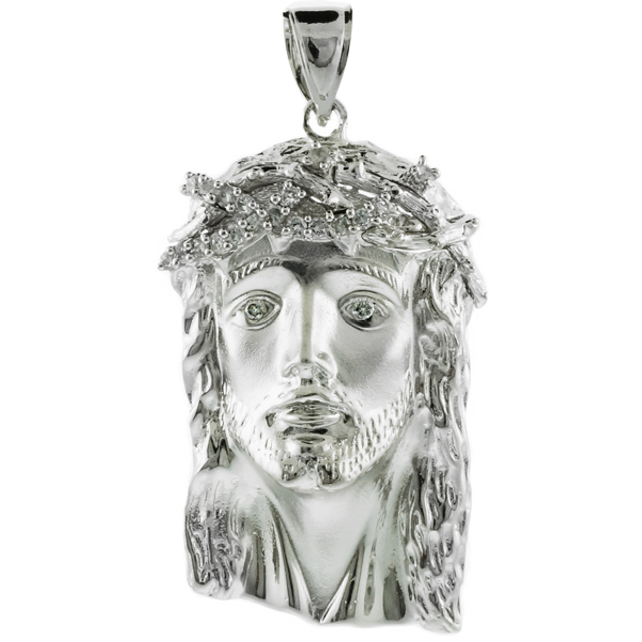 White gold jesus face large cz pendant factory direct jewelry white gold jesus face large cz pendant aloadofball Image collections